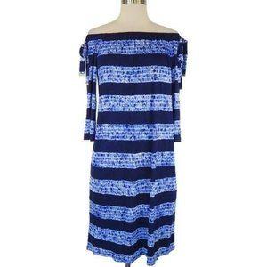 Michael Kors Blue Tie Dye Stripe Shift Dress Large
